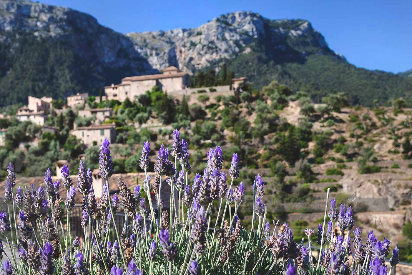 Image of Deià romantic village and mountains landscape